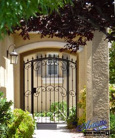 Valetta - Arched wrought iron courtyard entry gate with scrolls, knuckles and fleur dis lis finials - Model: CE0369