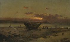 """""""BARCA EN LA PLAYA"""" by Modest Urgell i Inglada (1839-1919)"""