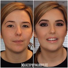 Before and after client makeup.