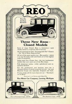 1922 Ad Reo Motor Car Co Lansing Michigan New Six Sedan Closed Automobiles NGM1