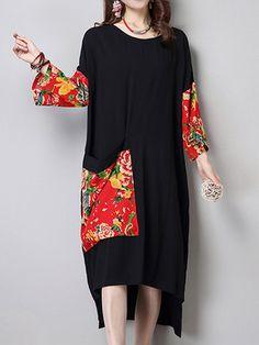 Women Vintage Patchwork Pocket Long Sleeve Loose Dresses Shopping Online - NewChic Mobile.