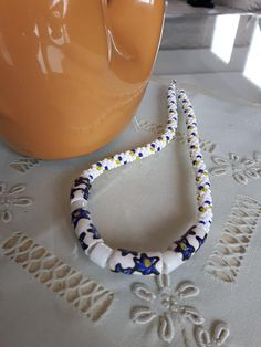 African Hand Painted Tube Beads Kumihimo Necklace