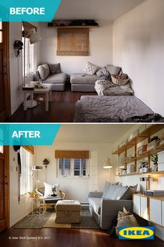 The Squad helps Margaux and Dax find more space by organizing their small house in the Pacific, NW. Ikea Home, Bedroom Design, Smart Living Room, Home Decor, Apartment Decor, Small Bedroom, Interior Design Living Room, Ikea Home Tour, Ikea Home Tour Series