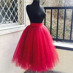 Red Tutu Skirt, Red Tulle Skirt, Womens Skirt, Red Wedding Skirt, Fall Wedding Skirt, Suit Skirt, Dance Skirt, Classic Skirt,Boho Chic Skirt