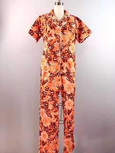 8deca67bd4 Hawaiian 60s 1960s Vintage Orange Floral Hibiscus Beach Pajamas Pjs Set  Party Loungewear Key West House