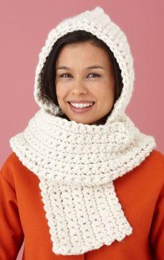 Free Crochet Pattern Hooded Scarf : Lion Brand Yarn Company by sweet.dreams