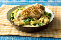 Poppy Seed Crusted Chicken With Creamy Rigatoni
