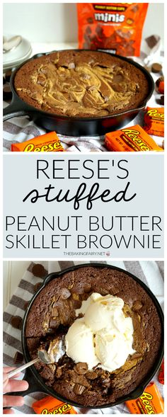 Reese's stuffed peanut butter skillet brownie This Reese's Stuffed Peanut Butter Skillet Brownie is a PB lover's dream! This fudgy brownie is hiding a layer of gooey peanut butter cups in the center, a PB swirl, and more mini Reese's cups on top! Delicious Desserts, Dessert Recipes, Yummy Food, Healthy Food, Healthy Eating, Healthy Recipes, Strudel, Skillet Brownie, Peanut Butter Cup Cookies
