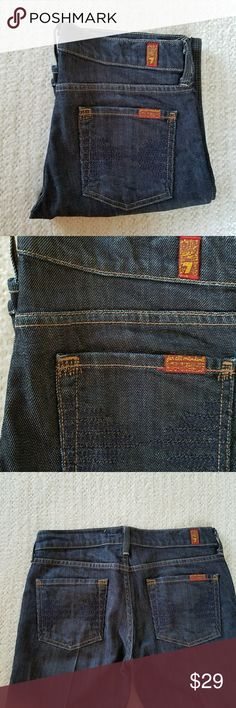 """7 for all mankind COLLETTE BOOT CUT JEANS 26 7 For All Mankind DARK WASH BOOT CUT JEANS It says size 26 on label. Actual measurements are waist is 15"""" rise is 7.25"""" and inseam is 30.5"""". The leg opening is 8"""".  The style is Colette 7 For All Mankind Jeans Boot Cut"""