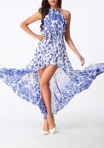 White-Blue Floral Drawstring Irregular Collarless Sleeveless Elegant Maxi Dress