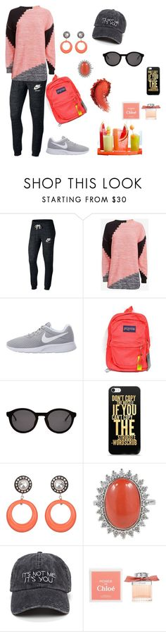 """""""Estilo esportiva"""" by megeller ❤ liked on Polyvore featuring NIKE, Sonia by Sonia Rykiel, JanSport, Thierry Lasry, Julie Sion and Chloé"""