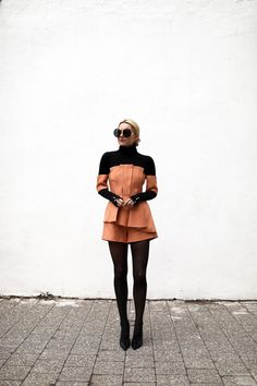 Atlantic Pacific // Holiday winter romper, layering, outfit ideas, peach and black
