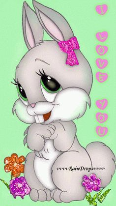 rabit I love you I'm 'Miss Blossom's friend Esther. Such a flirt. Easter Drawings, Cute Drawings, Animal Drawings, Easter Pictures, Cute Pictures, Happy Easter Gif, Happy Easter Quotes, Ostern Wallpaper, Bunny Images