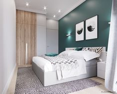 Ultra_city on behance mieszkania в 2019 г. Green Bedroom Walls, Green Rooms, Bedroom Decor For Teen Girls, Modern Bedroom Decor, Home Design Decor, House Design, Interior Design, Home Decor, Small Condo Living