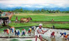 blr tamil sangam - 8 Photo: done in Oil colors, Size x year now this painting is in Bangalore tamil Sangam, Bangalore, India. Village Scene Drawing, Art Village, Indian Village, Farmer Painting, Painting Art, Composition Painting, Village Photography, Architecture Concept Drawings, Indian Art Paintings