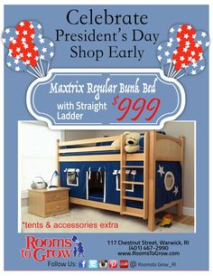 RTG Specials: Celebrate President's Day & Shop Early. Maxtrix: Regular Bunk bed with Straight Ladder for $999.00.  www.roomstogrow.com #Specials