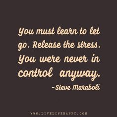 You must learn to let go. Release the stress. You were never in control anyway. – Steve Maraboli