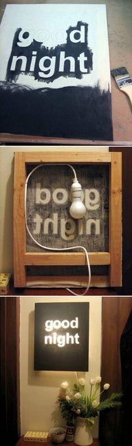 "DIY ""Good Night"" Night Light | 41 Coolest Night Lights To Buy Or DIY."