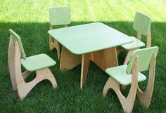 Modern Child Table set - 4 Chair option. $280.00, via Etsy.