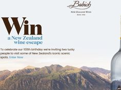 Enter The Win a Trip to New Zealand with Babich Wines Sweepstakes for a chance to win a 7-night trip for two to New Zealand!