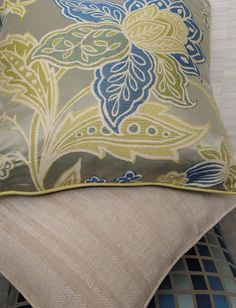 Cowtan & Tout's Delaunay (top pillow), Lille (middle pillow), Atelier (bottom pillow)