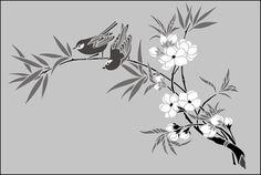 Japanese Birds & Blossom No 1 stencils, stensils and stencles