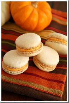 I just made these Pumpkin Spice French Macarons via FoodieMisadventures.com and they were delicious!
