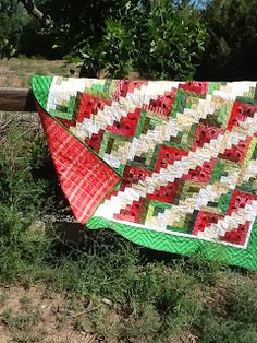 Fun summer quilt by  Tanya Quilts in CO: Scrappy Watermelon Picnic Quilt