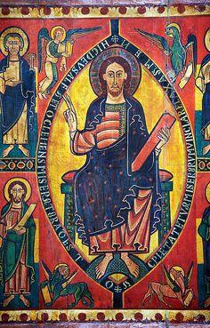 Majestas Domini with Evangelists and Saints (detail) c. 1123 Fresco Museu Nacional d'Art de Catalunya, Barcelona