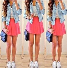 skater skirt outfits with converse