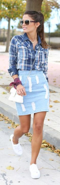 Blue Ripped Denim High Rise Mini Skirt by Seams For a Desire