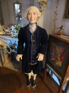 "DOLLHOUSE MINIATURE ARTISAN JENKINS PORCELAIN COLONIAL MAN ""GEORGE"" DOLL"