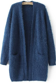 To find out about the Navy Long Sleeve Pockets Knit Cardigan at SHEIN, part of our latest Sweaters ready to shop online today! Knitted Coat, Hand Knitted Sweaters, Pullover Sweaters, Cardigans, Sweater Fashion, Sweater Outfits, Knit Cardigan Pattern, Casual Hijab Outfit, Tumblr Outfits