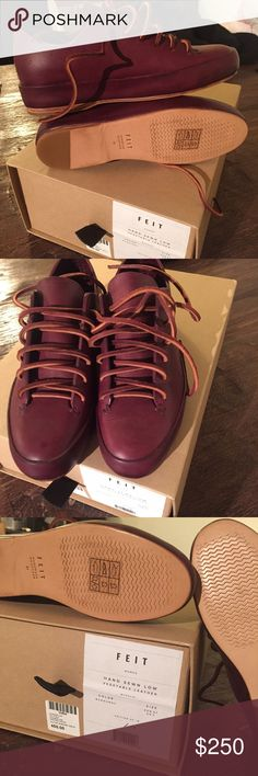 NEW FEIT • Hand Sewn Leather Sneaker Brand new, never worn FEIT leather sneakers. Vegetable leather in burgundy that would only get more beautiful with each wear. Marked size 37. Comes with box. FEIT Shoes