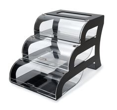 Rosseto | Three-Tier Clear Acrylic Bakery Display Case With Black Stainless Steel Stand #FoodPresentation #Hospitality