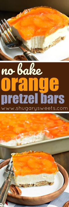 Sweet And Salty, This Mandarin Orange Pretzel Bars Recipe Is The Perfect Dish To Share This Summer You'll Love The Nutty Pecans In The Crust Of This Sweet Treat Pretzel Desserts, Jello Desserts, Jello Recipes, Easy Desserts, Baking Recipes, Delicious Desserts, Dessert Recipes, Yummy Food, Jello Salads
