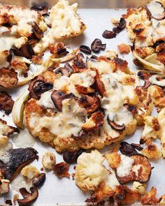 We like to think of this recipe as a deconstructed, healthier grilled cheese. Cauliflower stands in as the base while the bread serves as a crunchy garnish.