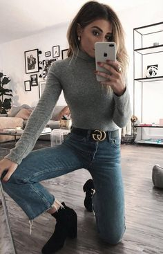 ootd | grey high neck top + black boots + jeans