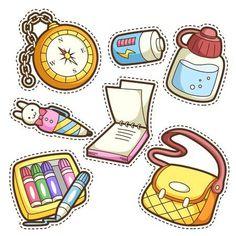 123RF- Millones de fotos, vectores, vídeos y archivos de música para inspirar tus proyectos. Printable Stickers, Cute Stickers, Planner Stickers, Flashcards For Kids, Tumblr Stickers, School Items, Cute Doodles, Aesthetic Stickers, Art Plastique
