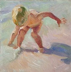 """""""Beach Play"""" by René Wiley Gallery Unenhanced Giclée ~ Available in any Square size up to inches x original is inches Boy On Beach, Beach Play, Beach Art, Painting People, Painting For Kids, Drawing People, Painting & Drawing, Paintings I Love, Beach Paintings"""