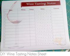 "Wine Tasting Party: free #printable ""Wine Tasting Notes"" sheet"