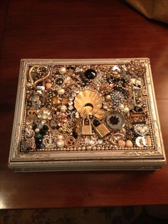 Mosaic box made with old broken costume jewelry!