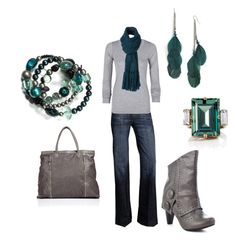 """""""Teal and Grey"""" by karaleah82 ❤ liked on Polyvore featuring Stephan & Co., 7 For All Mankind, LnA, Not Rated, Halston Heritage, DANNIJO, scarves, grey, trouser jeans and fold over boots"""