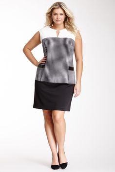 Resultado de imagem para sleeveless drop waist dress plus size