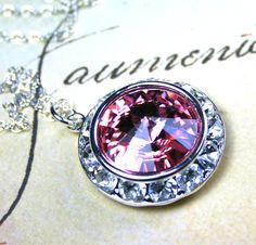 Swarovski Rivoli Crystal and Rhinestone Bezel Necklace