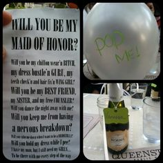 Bridesmaid, Maid of Honor proposal. Confetti and proposal stuffed into balloons, mini chanpagne bottles, needles to pop balloons behind the name tag.