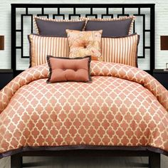 angelo:HOME Westgate 9 pc King Comforter Set Bedding Bedroom Queen Comforter Sets, Bedding Sets, Brown Comforter, Orange Comforter, Crib Sets, Moroccan Bed, Contemporary Decor, Contemporary Bedding, Modern Bedding