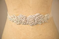 Wedding Belt Bridal Sash, Blush Flower Leaf & Vine Crystal Beaded Applique Rhinestone Ornate Rose Trim w/ Tulle Camilla Christine EVANGELINE