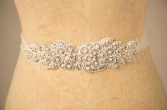 Wedding Belt Bridal Sash, Blush Flower Leaf & Vine Crystal Beaded Applique Rhinestone Ornate Rose Trim w/ Tulle Camilla Christine EVANGELINE