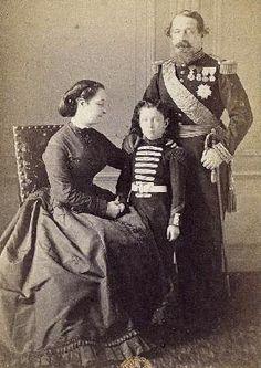 Empress Eugenie, the Prince Imperial Napoleon, and Emperor Napoleon III probably c. 1865.